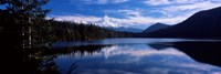 Reflection of clouds in water, Mt Hood, Lost Lake, Mt. Hood National Forest, Hood River County, Oregon, USA Fine Art Print