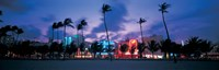 Buildings lit up at dusk, Miami, Florida, USA Fine Art Print