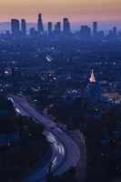 High angle view of highway 101 at dawn, Hollywood Freeway, Hollywood, Los Angeles, California, USA Fine Art Print