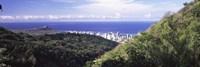 Mountains with city at coast in the background, Honolulu, Oahu, Honolulu County, Hawaii, USA Fine Art Print