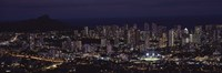 High angle view of a city lit up at night, Honolulu, Oahu, Honolulu County, Hawaii, USA Fine Art Print