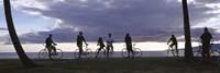 Tourists cycling on the beach, Honolulu, Oahu, Hawaii, USA Fine Art Print