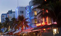 Hotels lit up at dusk in a city, Miami, Miami-Dade County, Florida, USA Fine Art Print