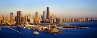 Aerial view of a city, Navy Pier, Lake Michigan, Chicago, Cook County, Illinois, USA Fine Art Print