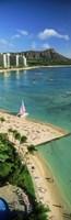 Aerial view of a beach, Diamond Head, Waikiki Beach, Oahu, Honolulu, Hawaii, USA Fine Art Print