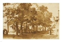 A Market Scene Under Trees in Katwijk Fine Art Print