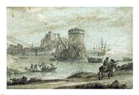 Figures in a Landscape before a Harbor Fine Art Print