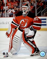 Martin Brodeur On Hockey Ice Framed Print