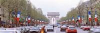 Traffic on a road, Arc De Triomphe, Champs Elysees, Paris, France Fine Art Print
