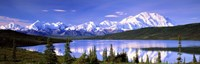 Snow Covered Mountains, Mountain Range, Wonder Lake, Denali National Park, Alaska, USA Fine Art Print
