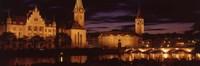 Switzerland, Zurich, Limmat River at night Fine Art Print