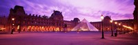 Famous Museum, Sunset, Lit Up At Night, Louvre, Paris, France Fine Art Print