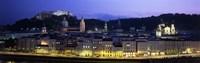 Austria, Salzburg, Salzach River at dusk Framed Print