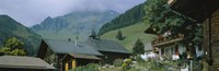 Low angle view of houses on a mountain, Muren, Switzerland Fine Art Print