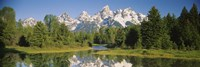 Reflection of a snowcapped mountain in water, Near Schwabachers Landing, Grand Teton National Park, Wyoming, USA Fine Art Print