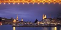 Switzerland, Zurich, Cityscape of Zurich at Christmas Fine Art Print