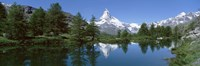 Reflection of a mountain in a lake, Matterhorn, Riffelsee Lake, Pennine Alps, Zermatt, Valley, Switzerland Fine Art Print