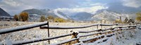 Wooden fence covered with snow at the countryside, Colorado, USA Fine Art Print