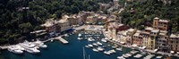 High angle view of boats docked at a harbor, Italian Riviera, Portofino, Italy Fine Art Print