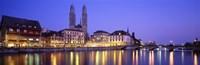 Commercial District, Limmatquai, Zurich, Switzerland Fine Art Print