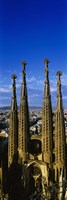 High Section View Of Towers Of A Basilica, Sagrada Familia, Barcelona, Catalonia, Spain Fine Art Print