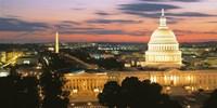 High angle view of a city lit up at dusk, Washington DC, USA Fine Art Print