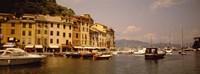 Boats in a canal, Portofino, Italy Fine Art Print