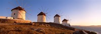Low angle view of traditional windmills, Mykonos, Cyclades Islands, Greece Fine Art Print