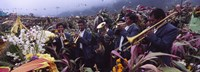 Musicians Celebrating All Saint's Day By Playing Trumpet, Zunil, Guatemala Fine Art Print