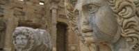 Close-up of statues in an old ruined building, Leptis Magna, Libya Fine Art Print