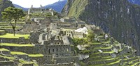 Buildings on a hill, Andes Mountains,Machu Pichu, Peru Fine Art Print