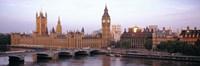 Arch bridge across a river, Westminster Bridge, Big Ben, Houses Of Parliament, Westminster, London, England Fine Art Print