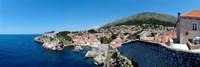 Buildings at the waterfront, Adriatic Sea, Lovrijenac, Dubrovnik, Croatia Fine Art Print
