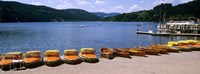 Row of boats in a dock, Titisee, Black Forest, Germany Fine Art Print