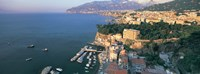 High angle view of a town at the coast, Sorrento, Naples, Campania, Italy Fine Art Print