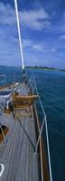 Chair on a boat deck, Exumas, Bahamas Fine Art Print