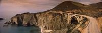 Bridge on a hill, Bixby Bridge, Big Sur, California, USA Fine Art Print