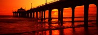 Silhouette of a pier at sunset, Manhattan Beach Pier, Manhattan Beach, Los Angeles County, California, USA Fine Art Print