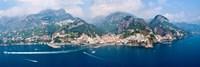 Aerial view of towns, Amalfi, Atrani, Amalfi Coast, Salerno, Campania, Italy Fine Art Print