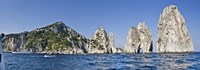 Rock formations in the sea, Faraglioni, Capri, Naples, Campania, Italy Fine Art Print