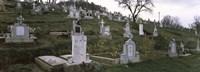 Tombstone in a cemetery, Saxon Church, Biertan, Transylvania, Mures County, Romania Fine Art Print