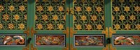 Paintings on the door of a Buddhist temple, Kayasan Mountains, Haeinsa Temple, Gyeongsang Province, South Korea Fine Art Print