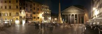 Town square with buildings lit up at night, Pantheon Rome, Piazza Della Rotonda, Rome, Lazio, Italy Framed Print