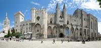People in front of a palace, Palais des Papes, Avignon, Vaucluse, Provence-Alpes-Cote d'Azur, France Fine Art Print