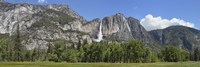 Panoramic view of Yosemite Falls and the Yosemite meadow in late spring, Yosemite National Park, California, USA Fine Art Print