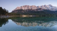 Wetterstein Mountains, Zugspitze Mountain and Eibsee Hotel reflecting in Lake Eibsee, Bavaria, Germany Fine Art Print