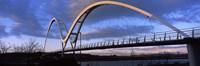 Modern bridge over a river, Infinity Bridge, River Tees, Stockton-On-Tees, Cleveland, England Fine Art Print