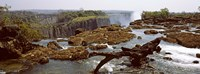 Log on the rocks at the top of the Victoria Falls with Victoria Falls Bridge in the background, Zimbabwe Fine Art Print
