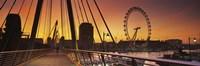 Bridge with ferris wheel, Golden Jubilee Bridge, Thames River, Millennium Wheel, City Of Westminster, London, England Fine Art Print