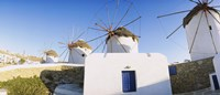 Traditional windmill in a village, Mykonos, Greece Fine Art Print
